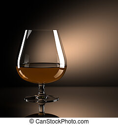 Glass of brandy with brown background