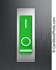 Green toggle switch on metallic surface