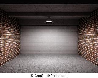 Empty garage with metal roll up door