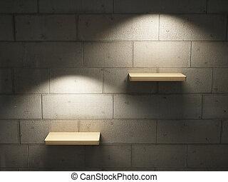 Illuminated empty shelves on a brick wall