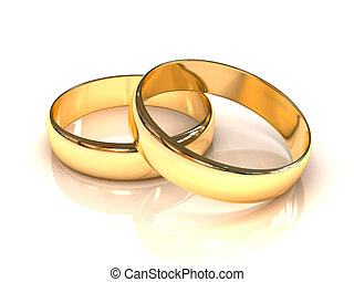 Golden wedding rings isolated on white background