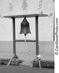 A bell in Monastry - A black and white photo of bell in...