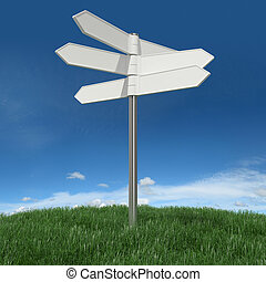 Blank signpost on grass with sky background