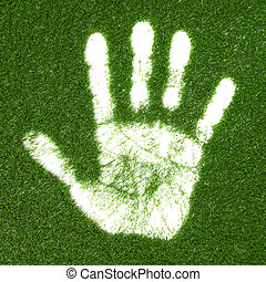 Grass hand print - Green grass growing hand print