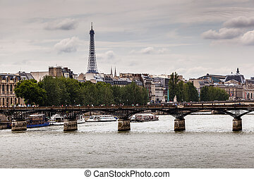 Eiffel Tower and Pont des Arts Bridge, Paris, France