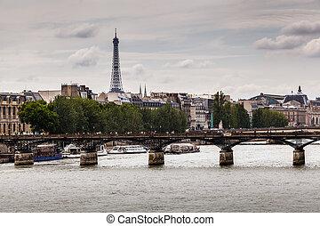 Eiffel Tower and Pont des Arts Bridge, Paris, France