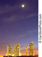 City of Miami Florida, downtown colorful buildings at sunset...