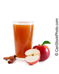 Apple cider - A glass of a apple cider isolated on white...