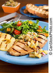 Chicken with pineapple salsa - Chicken with grilled...