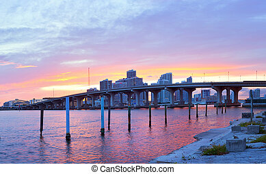 CIty of Miami Florida, summer sunset panorama