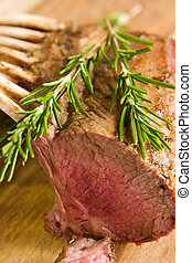Roasted rack of lamb - Close-up of roasted rack of lamb