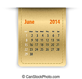 Glossy calendar for june 2014 on leather texture. Sundays...