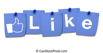 Like Icon And Word On Blue Post It - Website, social media...