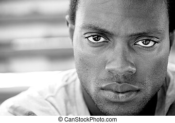 Black and white image of an african american man - CLoseup...