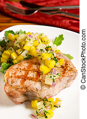 Grilled pork with tropical salsa