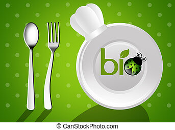 Biological cuisine - illustration of a plate with fork for...