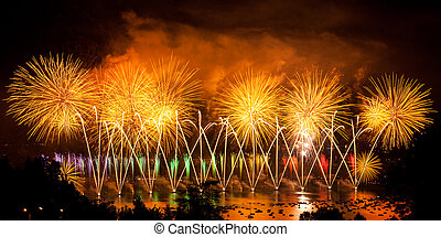 Fireworks over the city of Annecy in France for the Annecy...