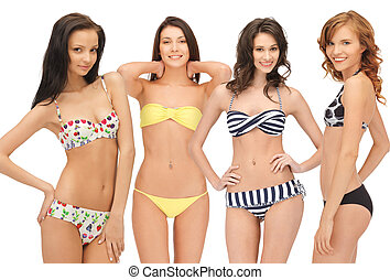 group of model girls in bikinis - summer, bikini and fashion...