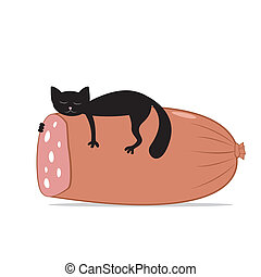 black cat and huge sausage - Vector illustration of black...