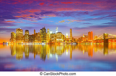 New York City, USA panorama - New York City USA, colorful...