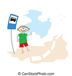 funny cartoon hitch on the road - Vector illustration of...