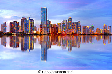 Miami Florida sunset reflections