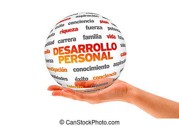 Personal Development Word Sphere (In Spanish) - Hand holding...