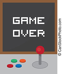 Arcade Joystick Game Over - Retro arcade machine with Game...