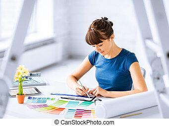mulher, trabalhando, cor, Amostras, seleção