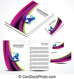 Wave Brochure Set Design Vector illustration