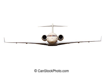 business jet with the two jet engines, isolated on white...