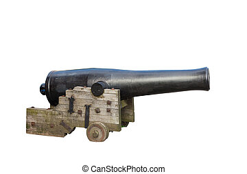 old cast-iron cannon isolated - old cast-iron cannon on a...