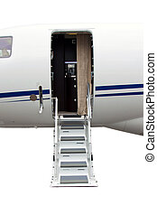 ladder in a private jet isolated on white background