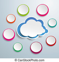 azul, nuvem, com, colorido, círculos