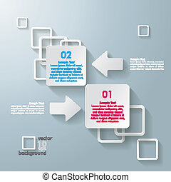 White Rectangle Squares 2 Options Arrows - Infographic...