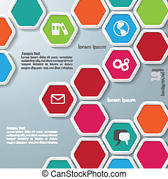 Several Colored Hexagons Infographic - Colored hexagons with...