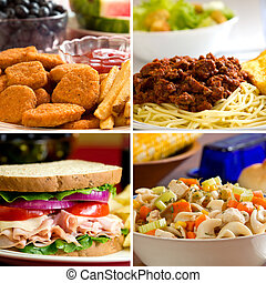 Food Collage - Food collage depicting chicken nuggets,...