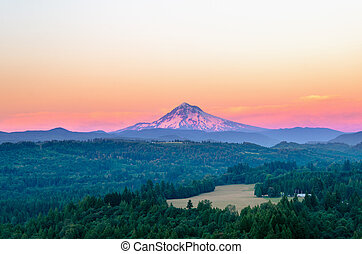 Purple Mount Hood - Mount Hood at sunset with a purple glow