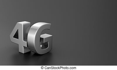 4G on black - Metal letters 4G on black background with...
