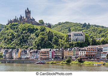 Cochem with castle along river Moselle in Germany