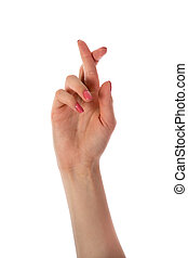 Woman hand with fingers crossed isolated on white