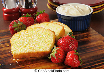 Strawberry shortcake ingredients - Sliced pound cake, fresh...