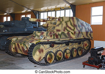 German self-propelled gun Wespe in hangar
