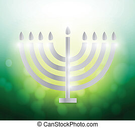 hanukah candles over a colorful green illustration design...