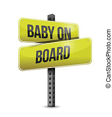 baby on board road sign illustration design over a white...
