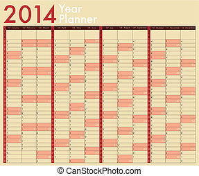 2014 Calendar Year Planner Week starts on Sunday