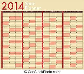 semana, Comienzos, planificador, calendario, domingo, año,  2014