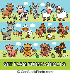 set farm funny animals