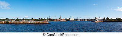 Srednyaya harbor town of Kronstadt in St. Petersburg in the...