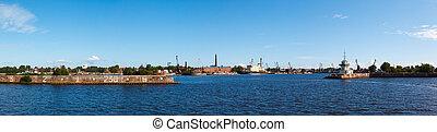 Srednyaya harbor town of Kronstadt in St. Petersburg in the...